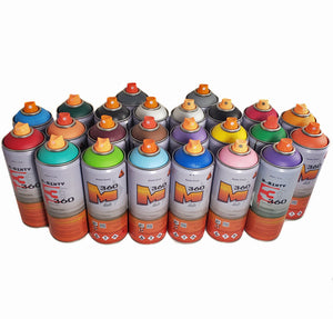 3-Sixty Matte 400ml Spray Paint Complete Kit 24 Colors