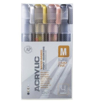 "Montana Acrylic Paint Marker ""Metallic"" Set of 4 - Fine (2mm) - InfamyArt"