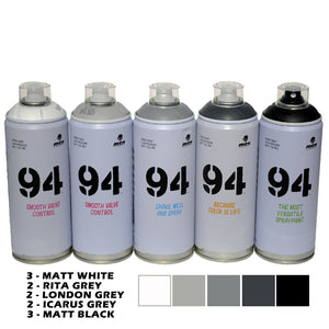 MTN 94 400ml Spray Paint Set of 12 Grey Scale Colors