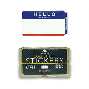 "Egg Shell Sticker ""Hello My Name Is"" Red/Blue Blanks Pack - 80pcs - InfamyArt - 2"