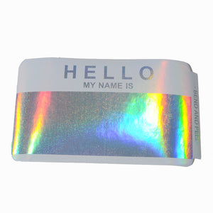 "Egg Shell Sticker ""Hello My Name Is Hologram Blanks"" Pack - 50pcs - InfamyArt - 4"