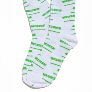 "ESS ""Hello"" Socks - White and Green - InfamyArt - 2"