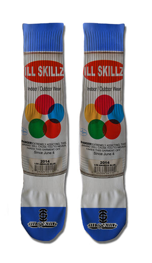Ill Skillz Clothing Premium Full Print Street Art Socks - True Blue