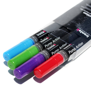 3mm Ironlak Pump Action Water- Based Acrylic Marker Set - Metallic Colors