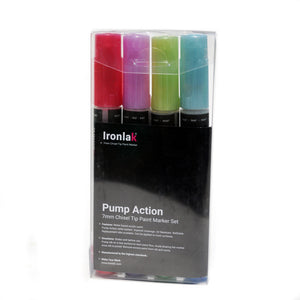 7mm Chisel Tip Ironlak Pump Action Water-Based Acrylic Marker Set - Metallic Colors