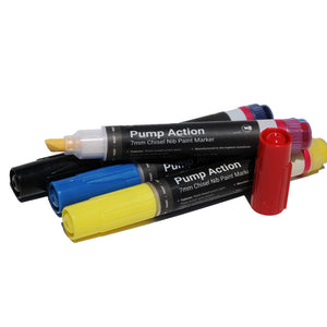 7mm Chisel Tip Ironlak Pump Action Water-Based Acrylic Marker Set - Primary Colors