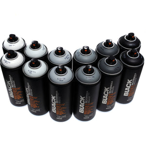 Montana BLACK 400ml Spray Paint 12 Pack - Grey Scale Colors