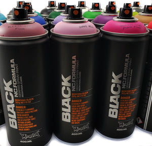 Montana BLACK 400ml Spray Paint 24 Pack - Complete Artist Set