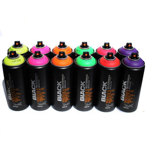Montana BLACK 400ml Spray Paint 12 Pack - Florescent Colors