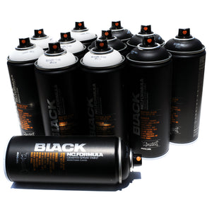 BLACK 400ml Spray Paint 12 Pack - Black and White