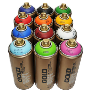 Montana GOLD 400ml Spray Paint 12 Pack - Standard Colors