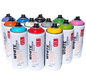 Montana White Synthetic Spray Paint Set of 12 Colors
