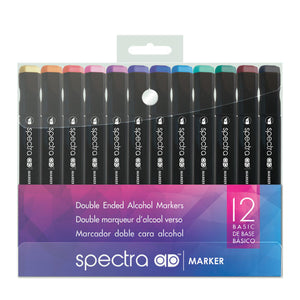 Spectra Dual Tip Alcohol Markers Basic set of 12 by Chartpak