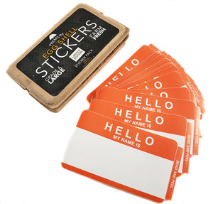 "Egg Shell Sticker Limited Edition Orange ""Hello My Name Is"" Pack - 50pcs"