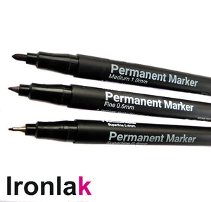 Ironlak Permanent Marker Black Ink Fineliner 3 Pen Set