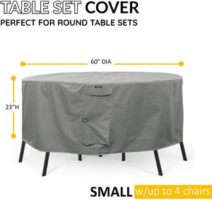 Round Patio Table & Chair Set Cover Durable & Water Resistant Outdoor Furniture Cover