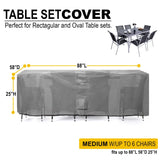 Patio Table & Chair Set Cover Durable & Water Resistant Outdoor Furniture Cover - M