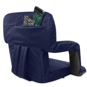 Stadium Bleacher Seat Bench Chair with Padded Reclining Cushion  - Blue