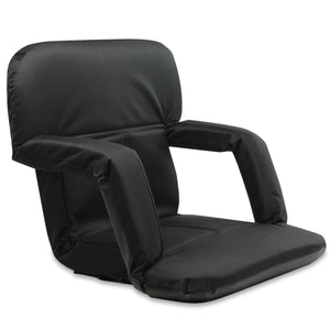 Stadium Bleacher Seat Bench Chair with Padded Reclining Cushion  - Black