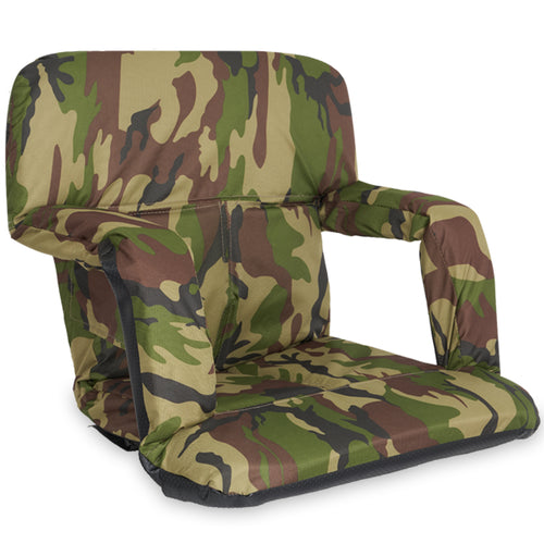 Stadium Bleacher Seat Bench Chair with Padded Reclining Cushion  - Camo