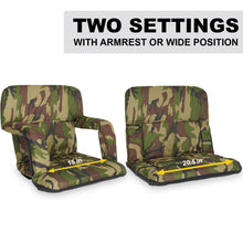 Load image into Gallery viewer, Stadium Bleacher Seat Bench Chair with Padded Reclining Cushion  - Camo