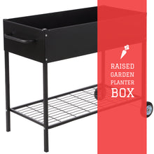 Load image into Gallery viewer, Raised Garden Bed with Wheels - Mobile Galvanized Steel Planter with Lower Shelf