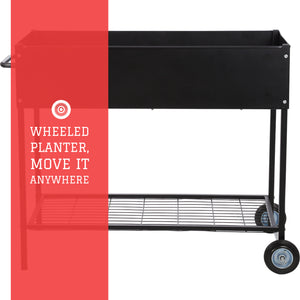 Raised Garden Bed with Wheels - Mobile Galvanized Steel Planter with Lower Shelf