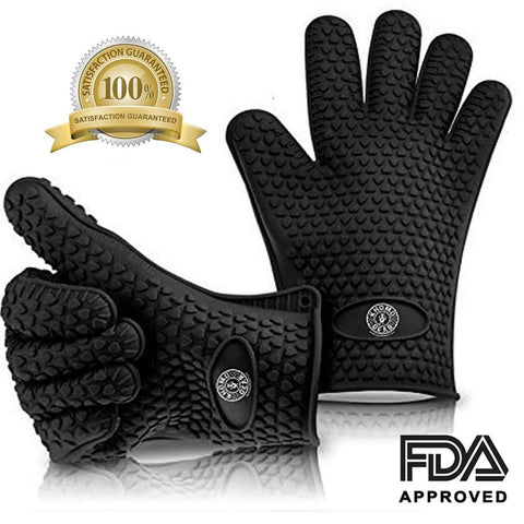Pair Of Heat Resistant Gloves Oven / Kitchen / BBQ Grill - Black