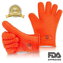 Load image into Gallery viewer, Pair Of Heat Resistant Gloves Oven / Kitchen / BBQ Grill - Orange