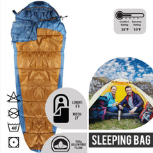 Load image into Gallery viewer, Sleeping Bag For Hiking Camping & Outdoor Activities Compression Bag Included Mummy - Blue