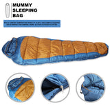 Sleeping Bag For Hiking Camping & Outdoor Activities Compression Bag Included Mummy - Blue