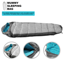 Load image into Gallery viewer, Sleeping Bag For Hiking Camping & Outdoor Activities Compression Bag Included Mummy - Grey