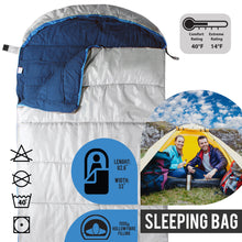 Load image into Gallery viewer, Sleeping Bag For Hiking Camping & Outdoor Activities - Compression Bag Included - Grey