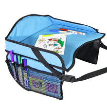 Load image into Gallery viewer, Toddler Car Seat Travel Tray with Storage Pocket Organizer - Blue