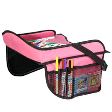 Load image into Gallery viewer, Toddler Car Seat Travel Tray with Storage Pocket Organizer - Hot Pink