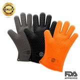 Pair Of Heat Resistant Gloves Oven / Kitchen / BBQ Grill - Orange