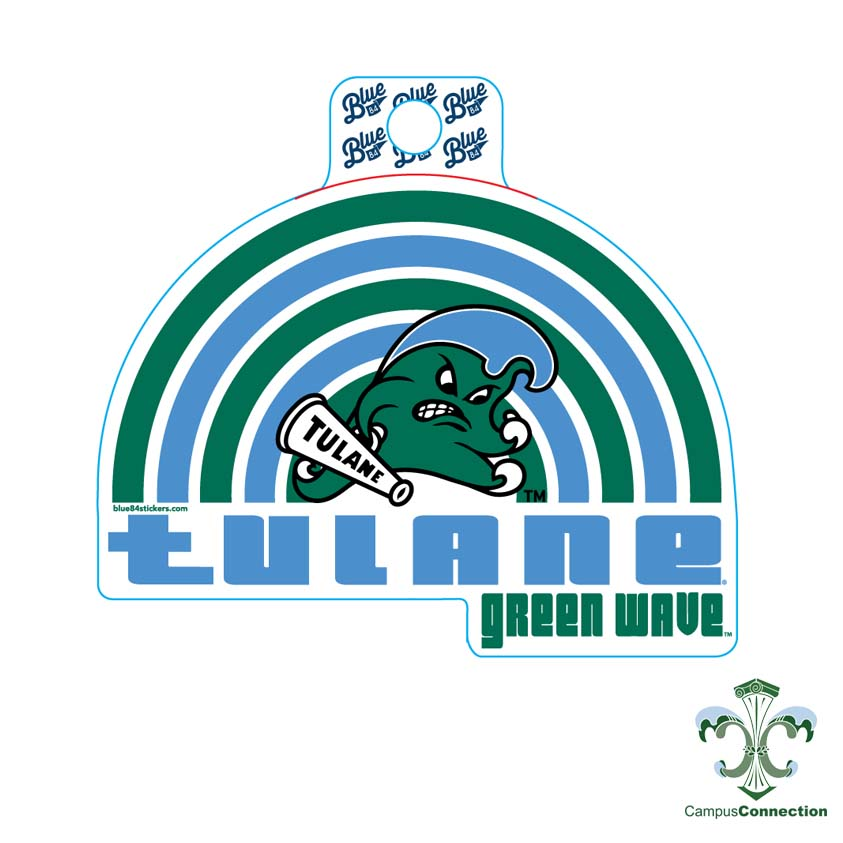 Tulane Retro Rainbow Decal