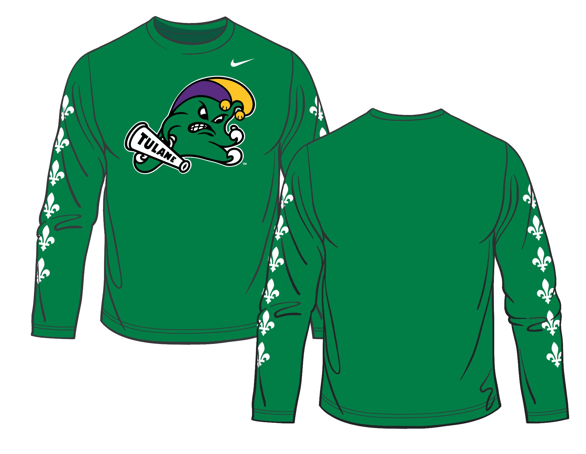 7c0519688 Home > Products > Tulane Angry Wave Mardi Gras Jester Nike DriFit Long  Sleeve Shooting Shirt