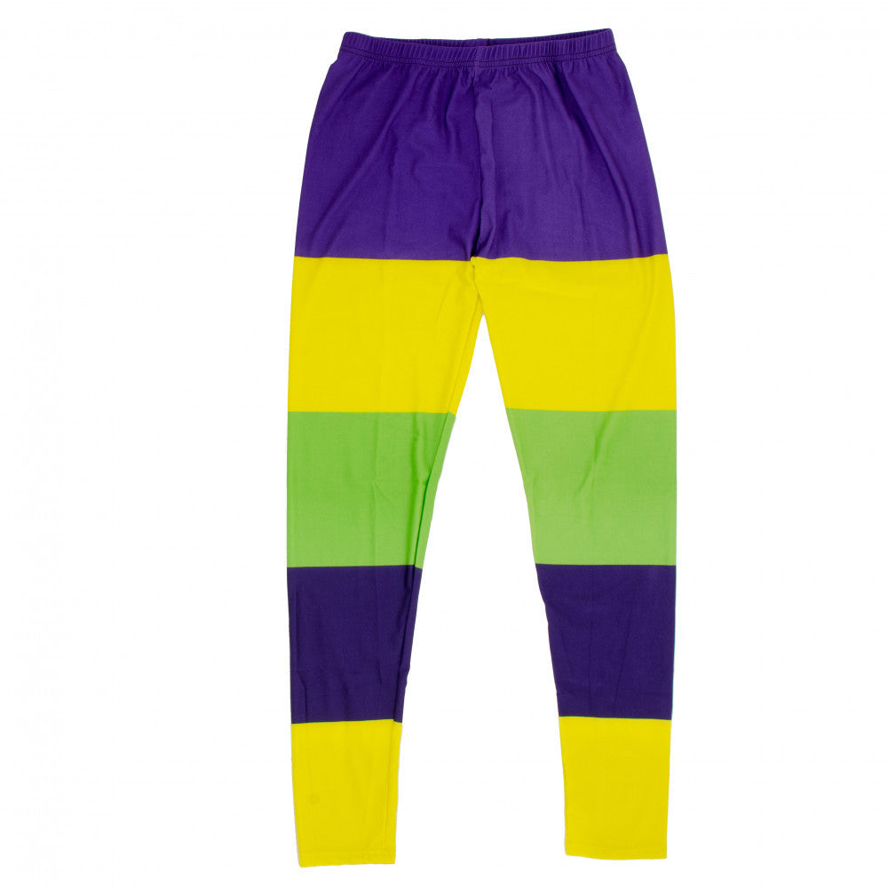 Mardi Gras Striped Leggings