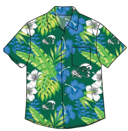 Tulane Angry Wave Floral Hawaiian Shirt