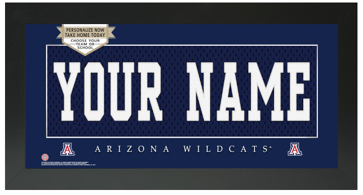 Arizona Wildcats NCAA Jersey Nameplate Custom Framed Sign