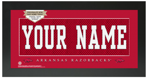 Arkansas Razorbacks NCAA Jersey Nameplate Custom Framed Sign