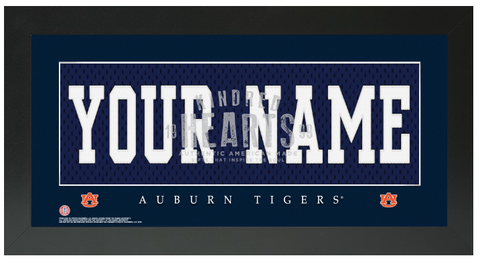 Auburn Tigers NCAA Jersey Nameplate Custom Framed Sign