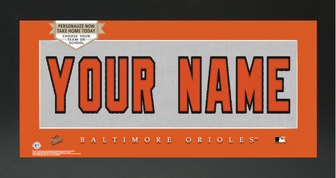 Baltimore Orioles MLB Jersey Nameplate Custom Framed Sign
