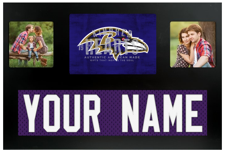 Baltimore Ravens NFL Jersey Nameplate Custom Picture Frame