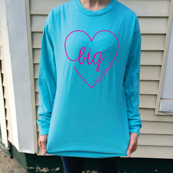 Big/Little/GBig/GGBig Sorority Script Heart Comfort Colors Long Sleeve - Campus Connection - Campus Connection - 1