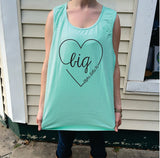 Big/Little/GBig/GGBig Sorority Script Heart Comfort Colors Tank Top - Campus Connection - Campus Connection - 2