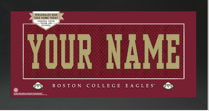 Boston College Eagles NCAA Jersey Nameplate Custom Framed Sign