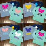 Big/Little/GBig/GGBig Sorority Bow Comfort Colors Long Sleeve - Campus Connection - Campus Connection - 1