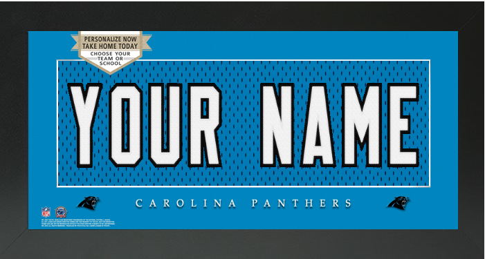 Carolina Panthers NFL Jersey Nameplate Custom Framed Sign